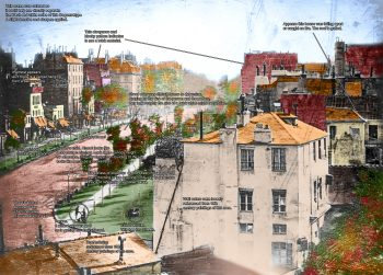 Boulevard du Temple by Daguerre color notes 350x251 Colorized Boulevard du Temple by Daguerre